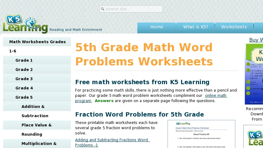 5th Grade Math Word Problems Worksheets Curriki Library