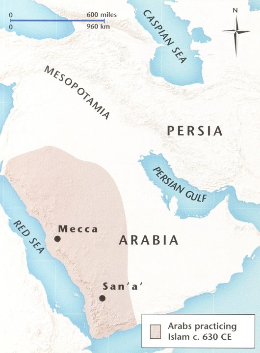 Map Illustrating Early Population of Arab Muslims 630 CE