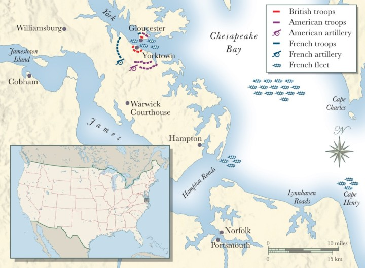 Map Illustrating American and British Forces at the Battle of Yorktown, October 1781